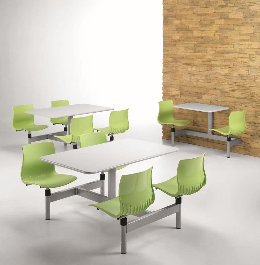 WEBBY W830, Rectangular table with 4 fixed chairs, for canteen