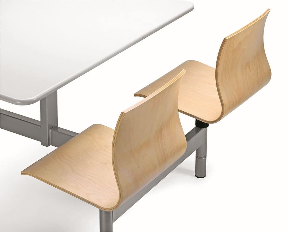WEBWOOD W860, Monobloc table with 4 chairs in plywood, for canteens