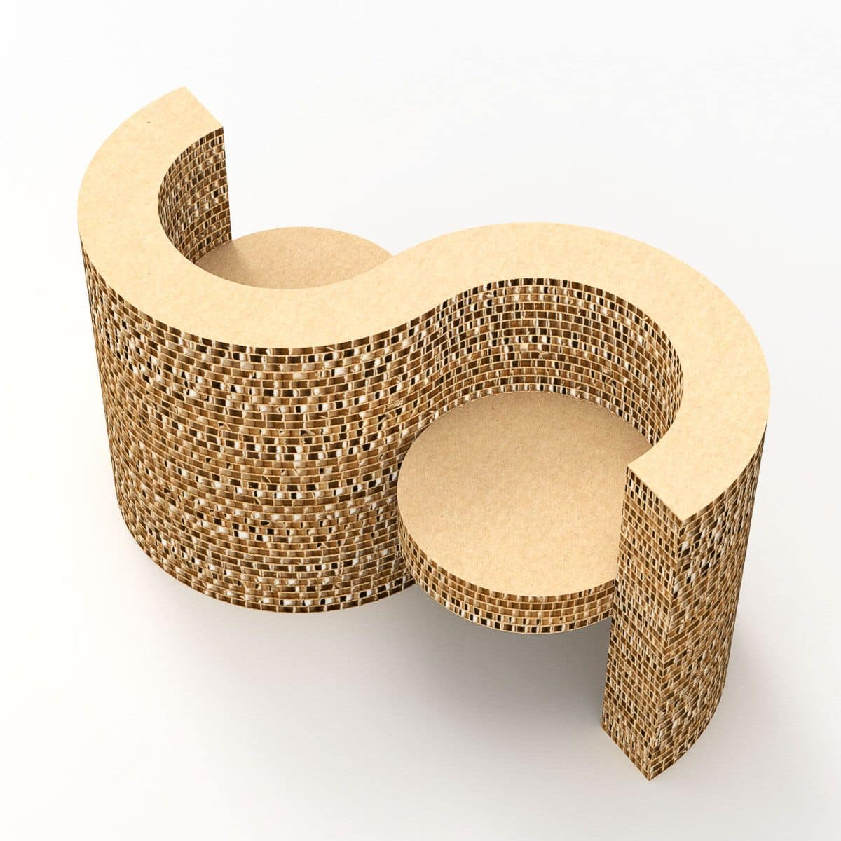 Element With Two Seats With Armrests Made Of Cardboard