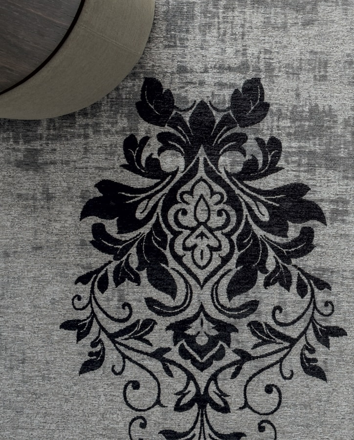 PALMANOVA, Central damask industrial yarn carpet with fringes