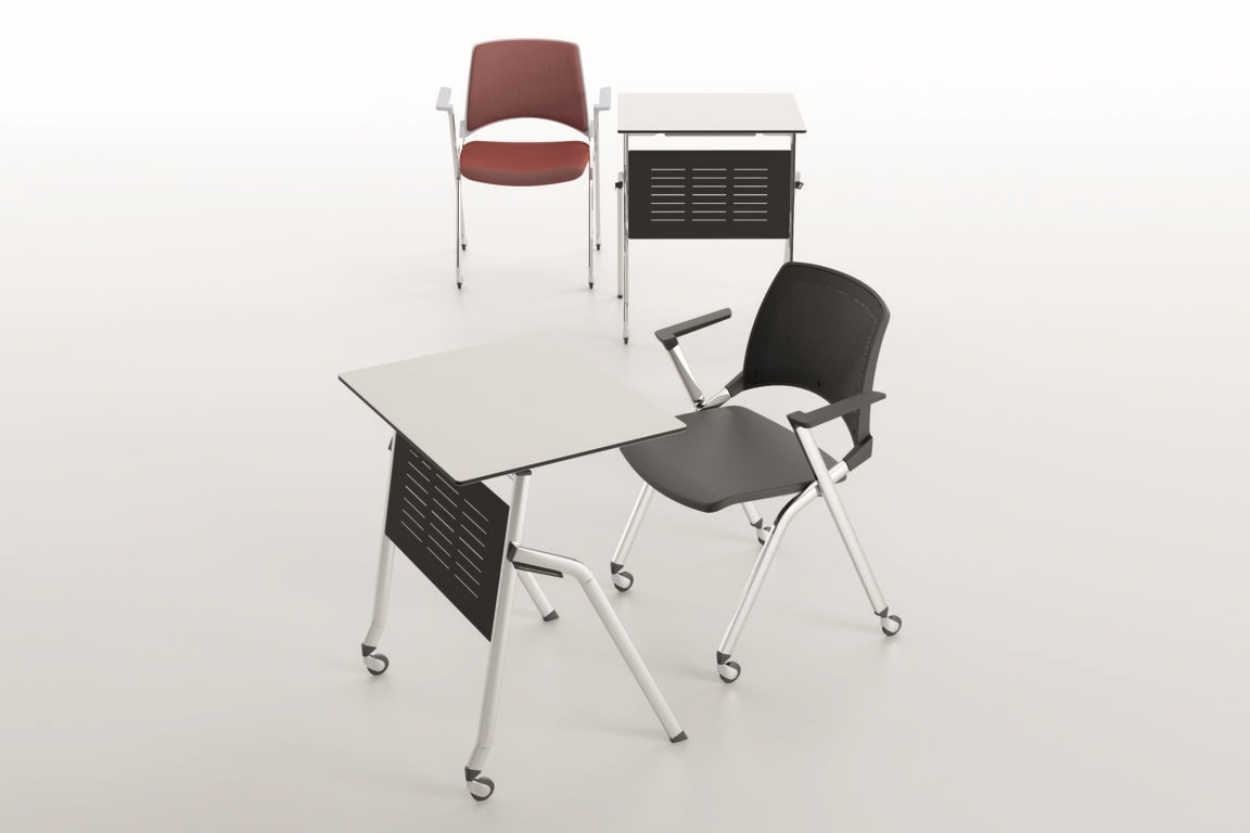 Pitagora, Table with folding top, stackable horizontally, for classroom and conference room