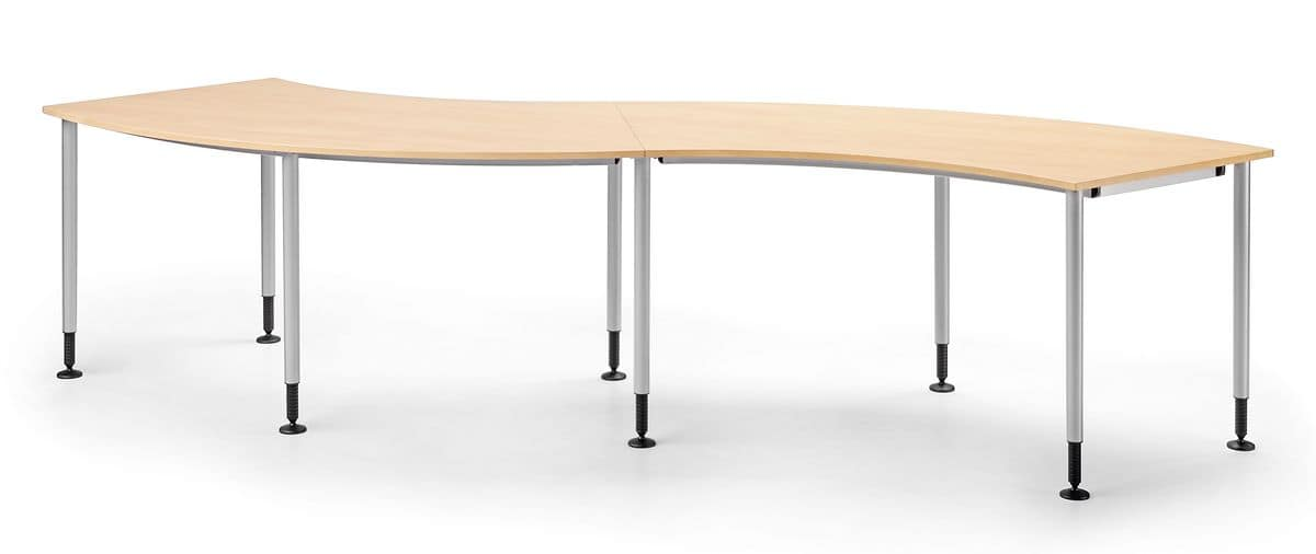 SYSTEM 794, Table in metal and laminated, curved lines, for catering
