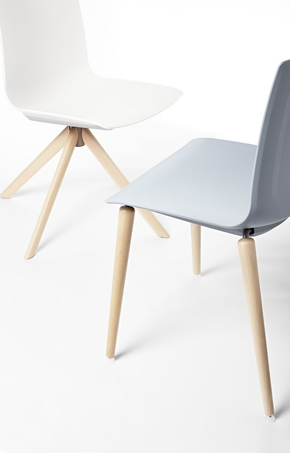 AIRA W, Polypropylene chair with wooden base