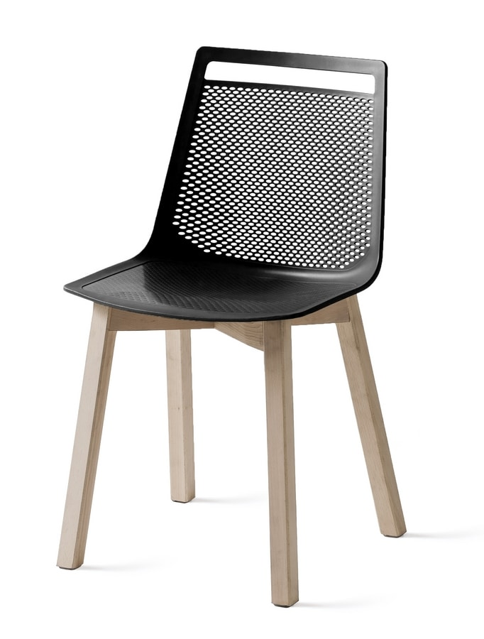 Akami BL, Technopolymer chair with wooden legs