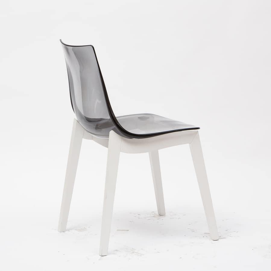 Art. 017 Orbital Wood, Chair with acrylic shell, beech wood legs