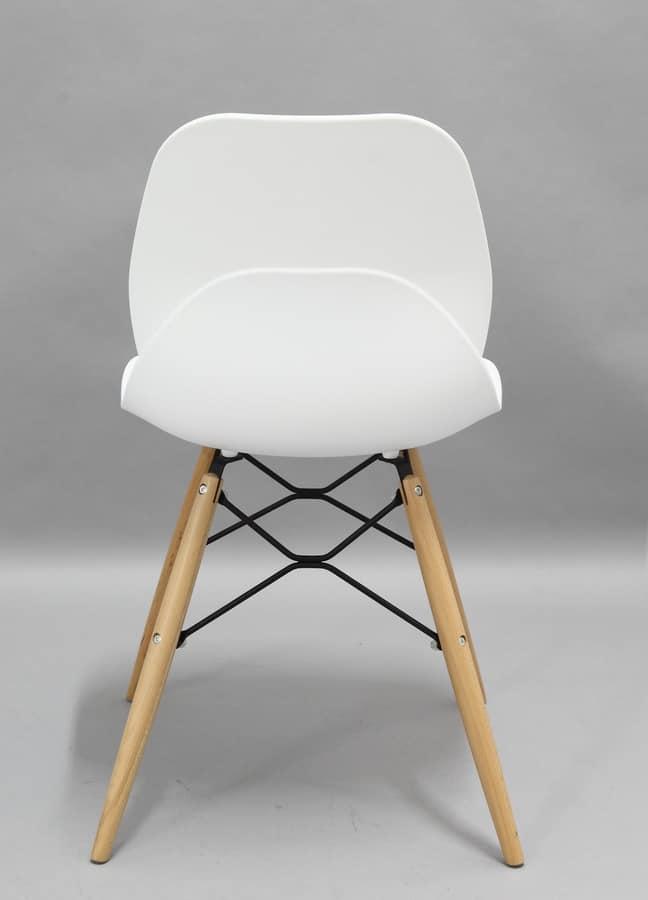 Art. 022 Shell Wood, Polypropylene chair with wooden legs