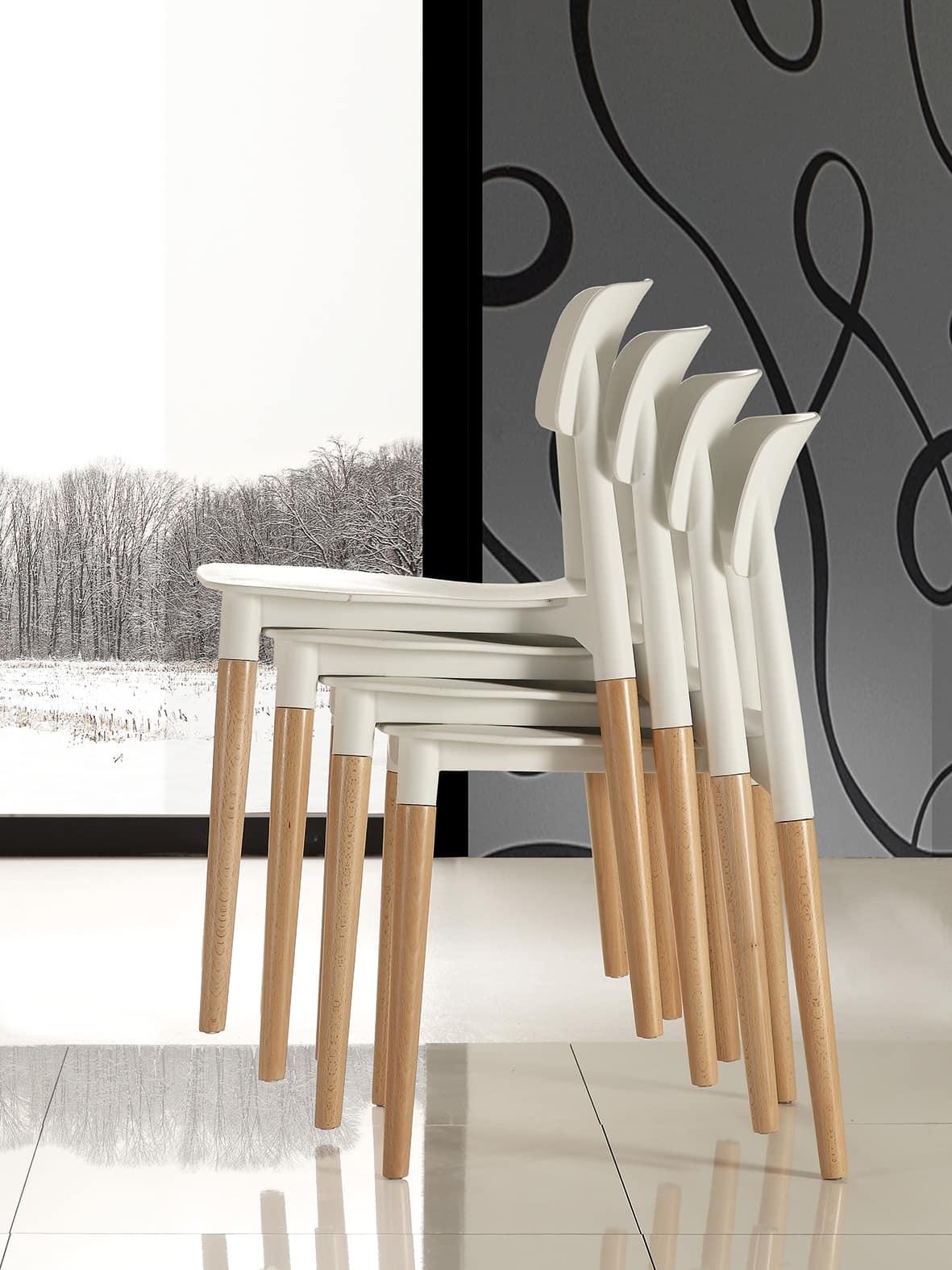 Art. 024 Artika, Space saving chair, comfortable and stackable
