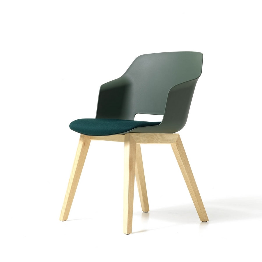 Clop 4 legs wood imb, Upholstered chair with wooden legs