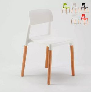 Design Chair for Dining Home Bar Kitchen BARCELONA SB676BW, Modern design chair in wood and plastic