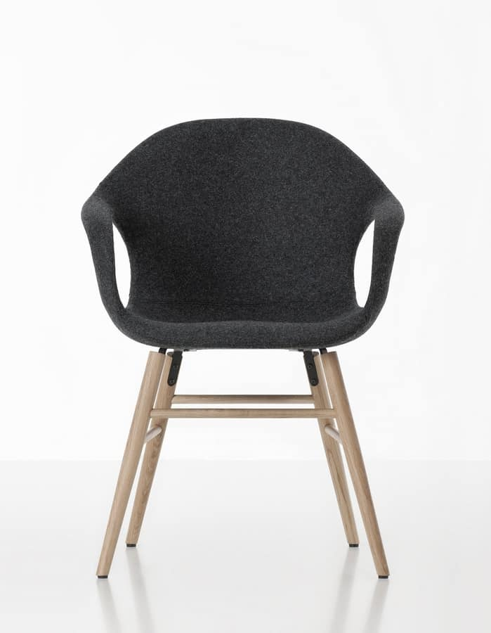 Elephant Wood Base, Chair with beech legs and polyurethane shell