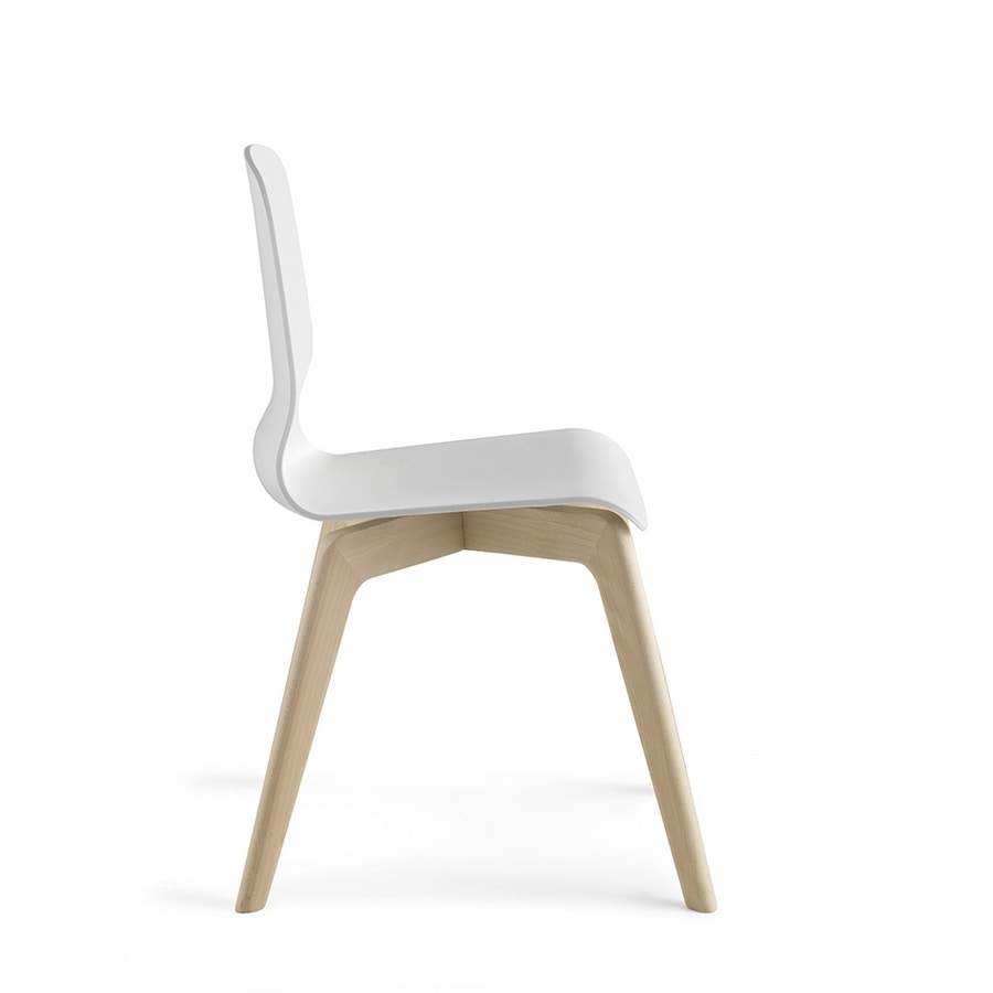 Glamour Wood Plastic, Wooden chair, with technopolymer shell