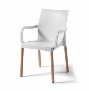 Iris BL, Technopolymer chair with wooden legs