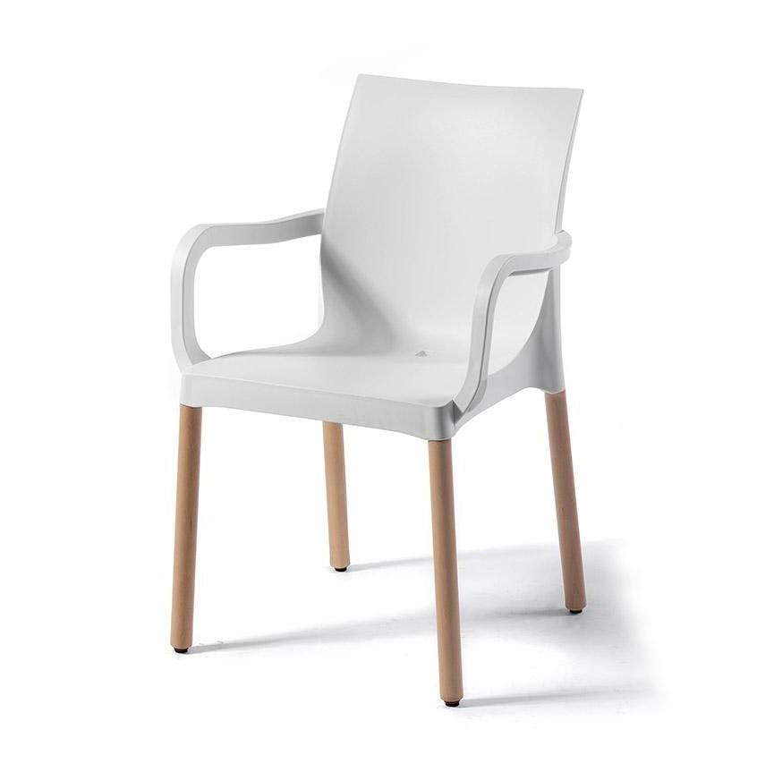 Iris BL, Technopolymer chair with wooden legs