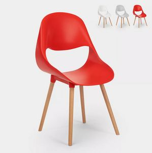 Modern Design Polypropylene and Wood Chairs for kitchen and bar Shell SC773PP, Polypropylene and wood chair