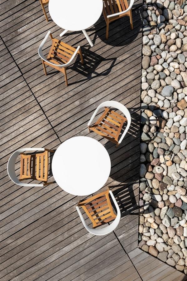 Monza mod. 1209-40 outdoor, Outdoor armchair in iroko massive wood