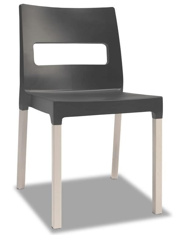 Natural Diva, Modern wooden chair with technopolimery seat, stackable