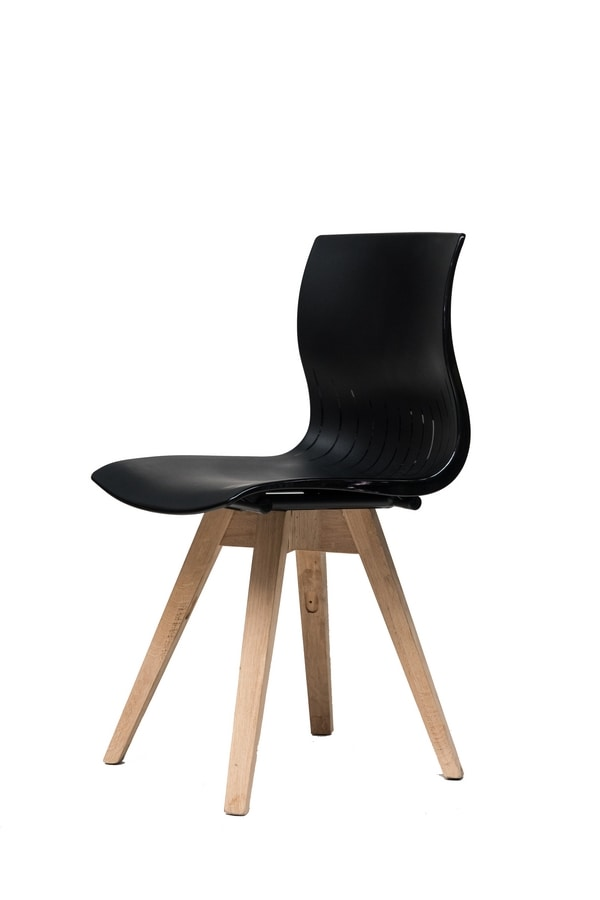 WEBBY 333P, Wooden chair with nylon shell