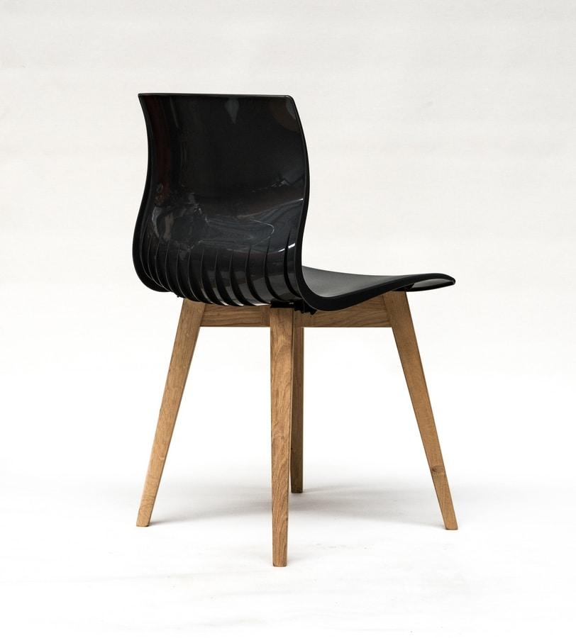 WEBBY 333U, Chair with beech legs, nylon shell