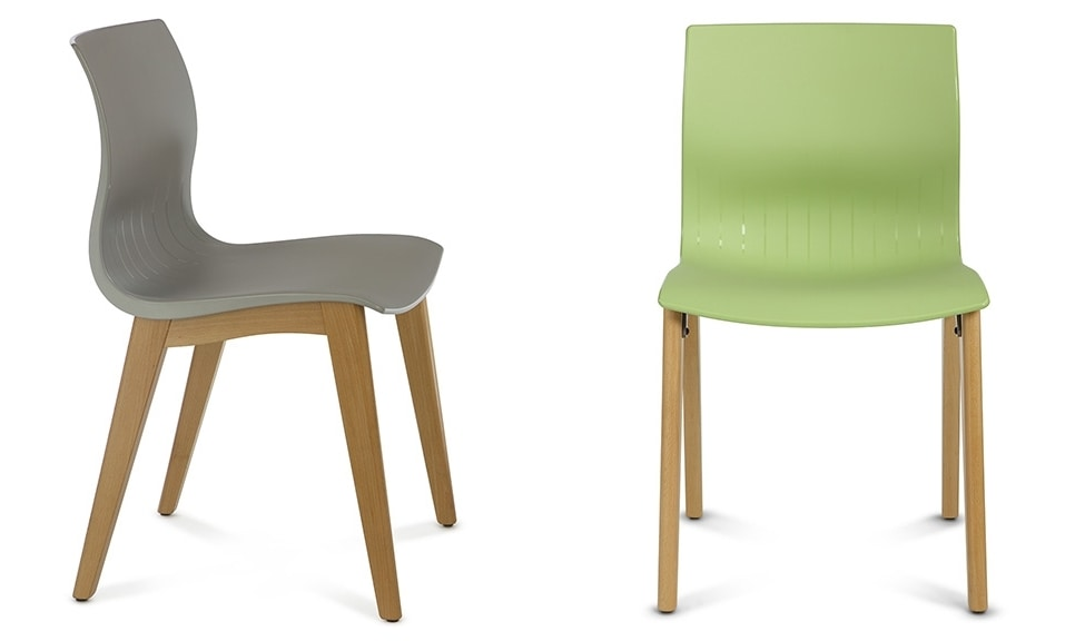 WEBBY 345, Plastic and wood chair