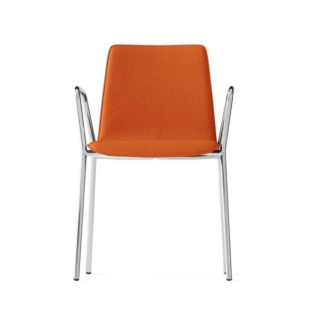 CARPET, Upholstered chair with armrests, 4 legs chromed frame