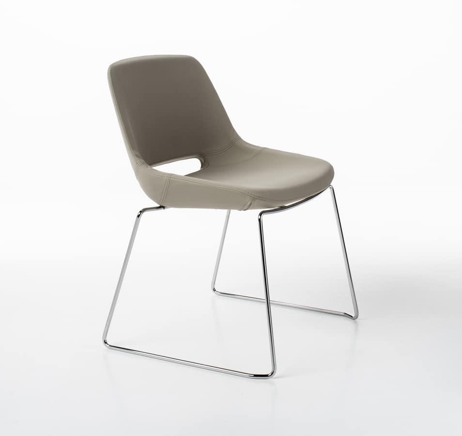 Clea sled base, Chair with sled chromed base
