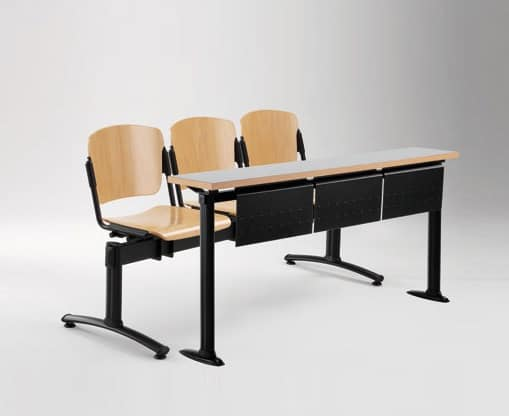 Cortina movable bench with school table, Bench with seats and backrests in plywood, for university