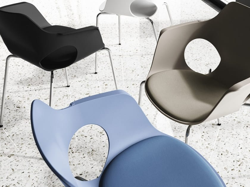JAMILA, Chair with monocoque in polypropylene, on 4 white painted frame