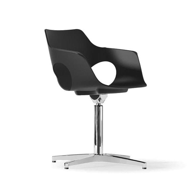 JAMILA, Swivel chair, with polypropylene shell, 4-spoke aluminum base