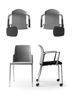 KAYLA, 4 legs chair on wheels, mesh back, with armrests