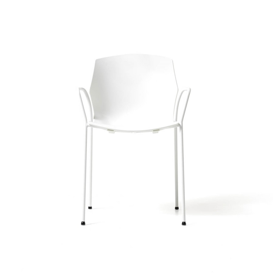 No Frill 4 legs with armrests, Elegant conference chair, equippable with writing tablet