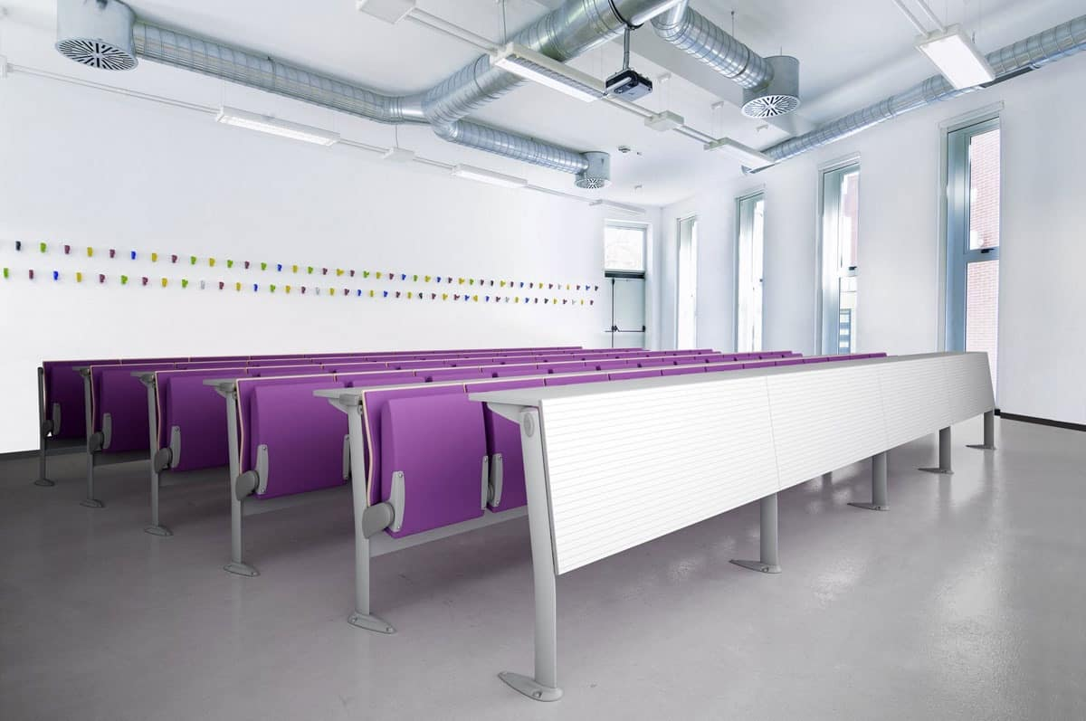 EVOLUTION, System of chairs and tables, with sound-absorbing panels, for classrooms and conference rooms