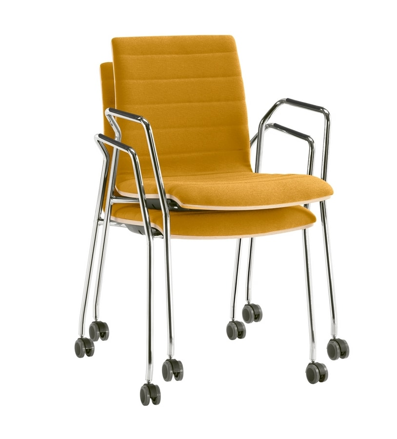 Q2 WIM, Stackable chair on castors, equipped with writing tablet