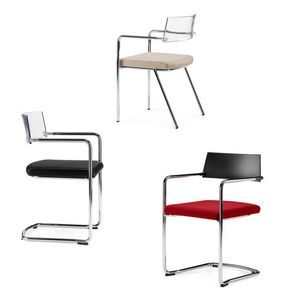 SLIM, Stackable chair with upholstered seat, for conference rooms
