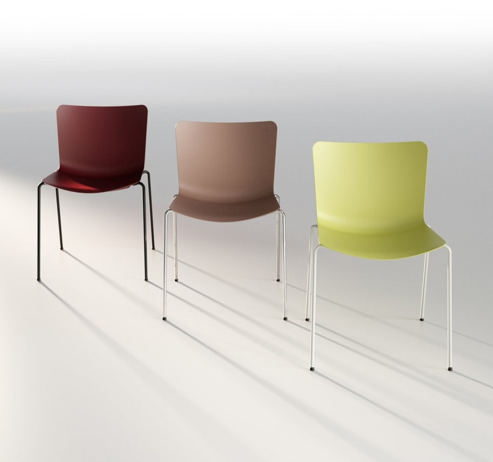 Zaza, Modern conference chair, with polypropylene shell