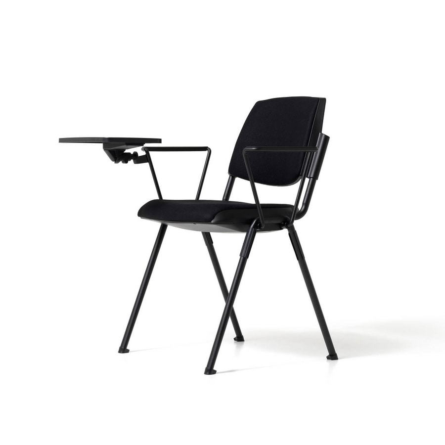 Bonn upholstered seat, Modern chair with writing tablet for auditorium