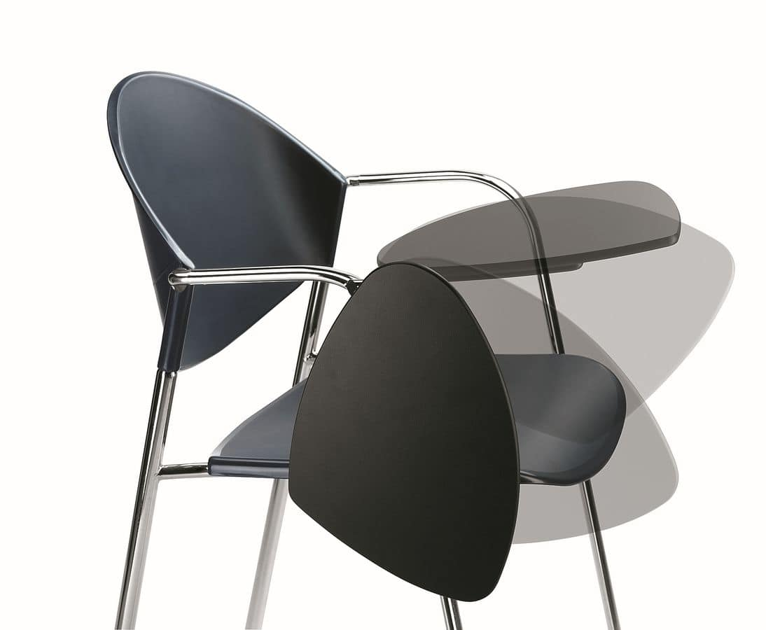 DELFI 085 TDX, Chair in metal frame, seat in polymer, with desk