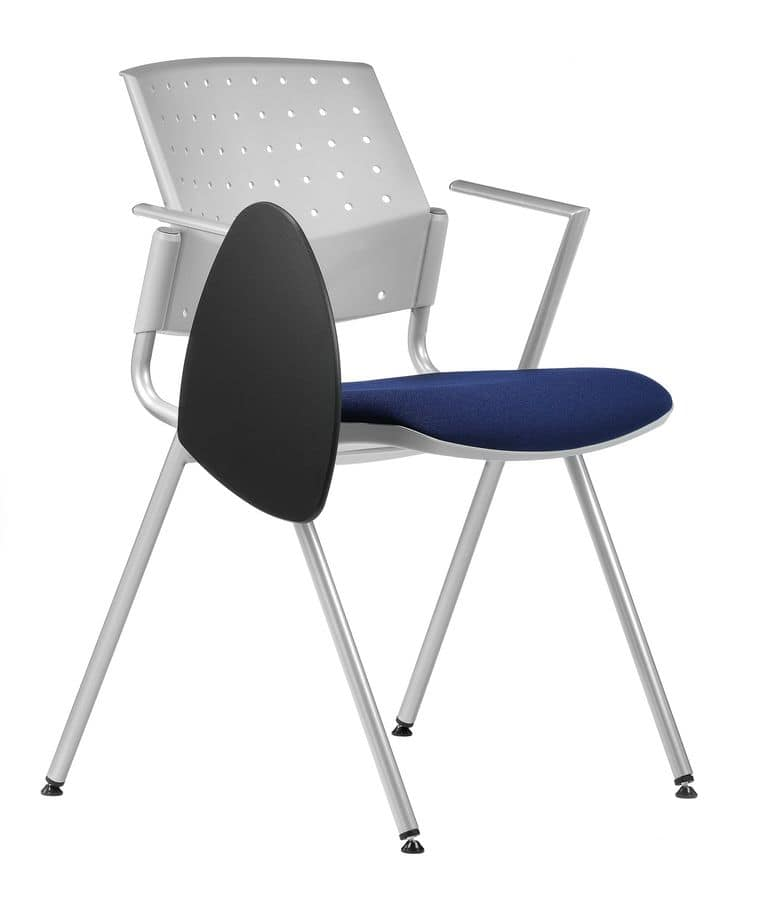 NESTING DELFIBRIO 065 TDX, Chair with padded seat, metal base, writing tablet