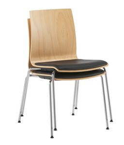 Q2 W, Stackable chair, with wooden shell and padded seat