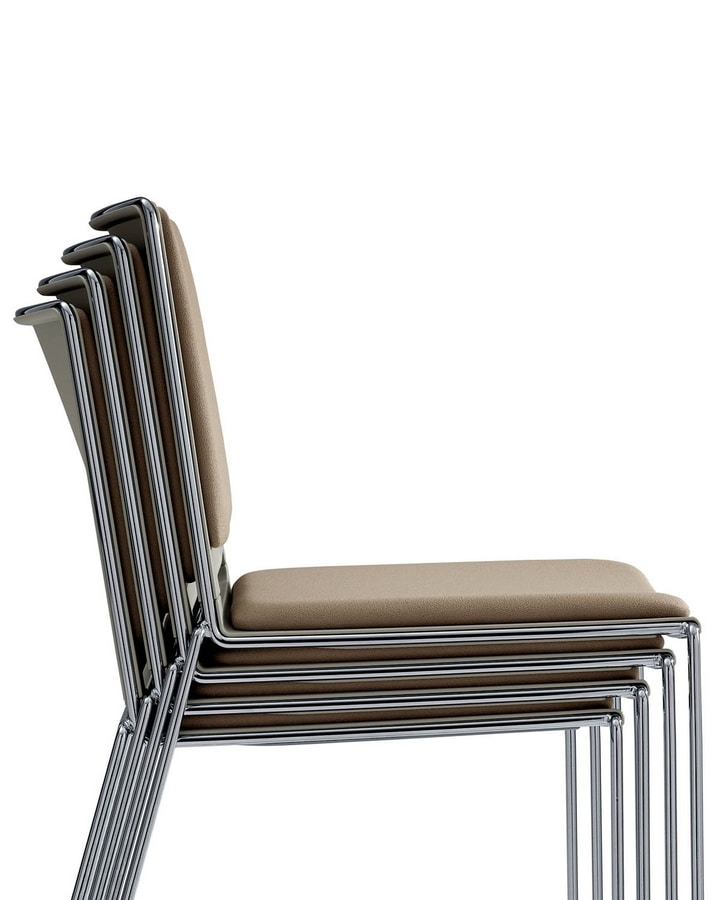 UF 170 / T, Stackable chair with armrests and writing tablet