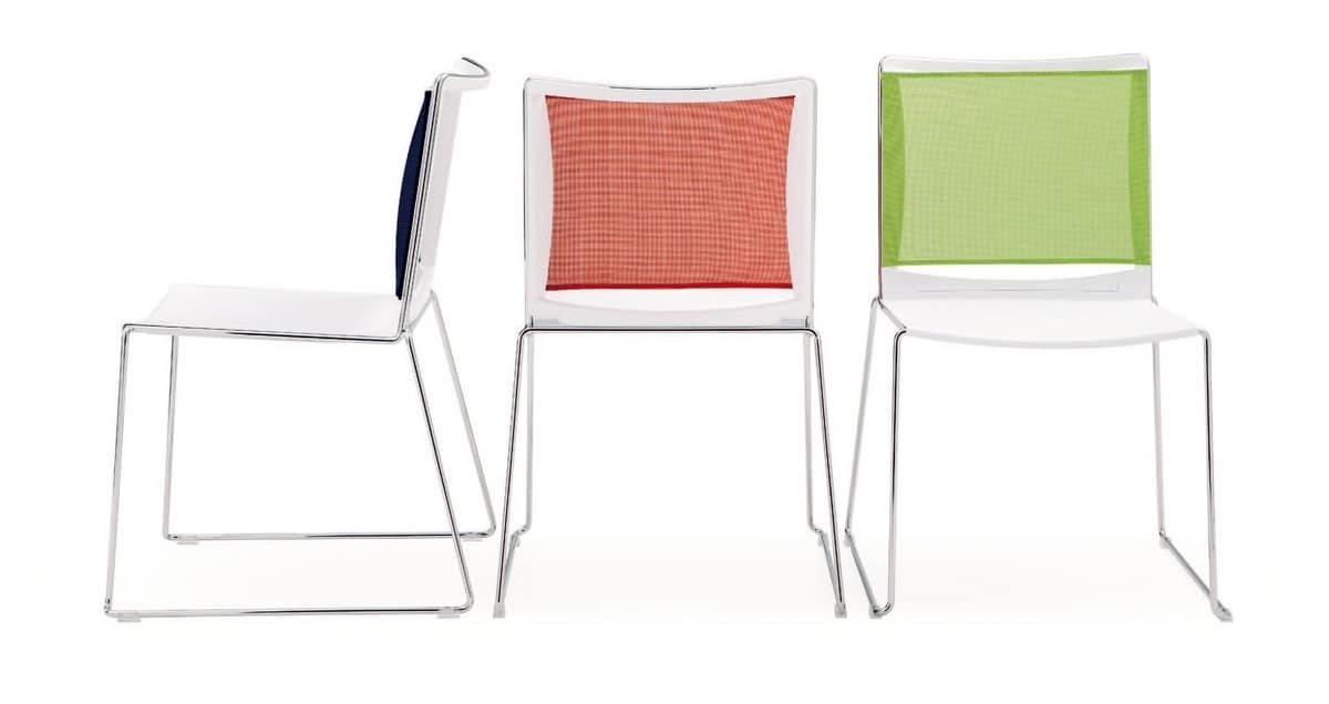 UF 177 T, Chair with padded seat and mesh back, with tablet