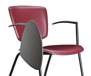 VEKTATOP 122 TDX, Chair in metal and leather, with writing tablet
