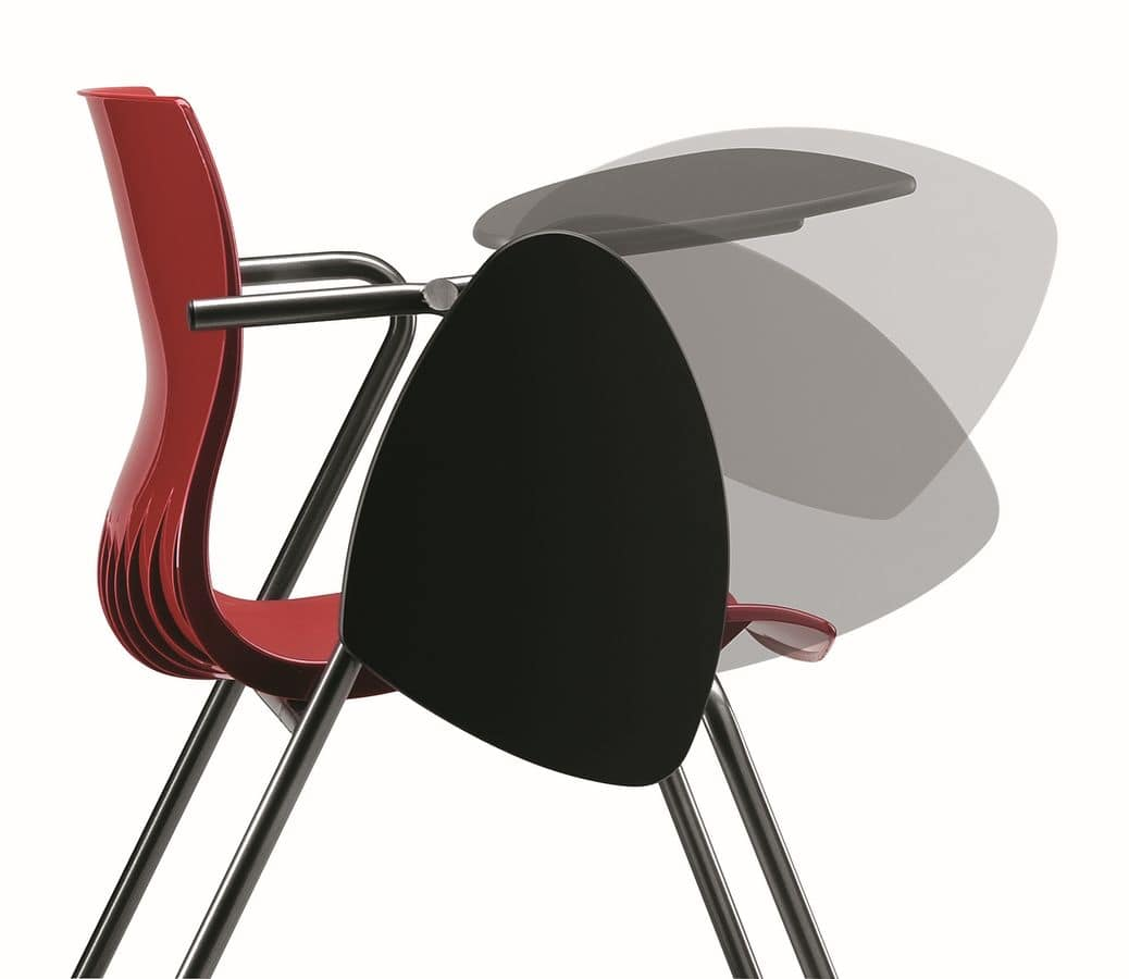 WEBBY 332 TDX, Chair with metal base, polymer shell, writing tablet