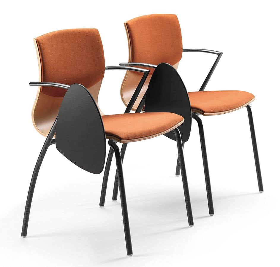 WEBWOOD 355 STDX, Upholstered chair in metal and plywood, with writing tablet