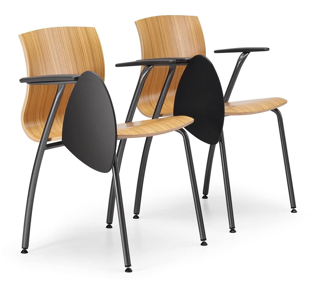 WEBWOOD 358 TDX, Chair in metal and plywood, with writing tablet