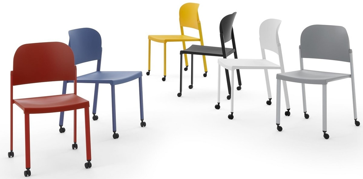 Convention - R, Stackable chair on castors