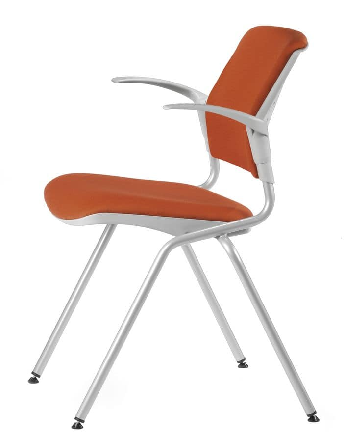 NESTING DELFIBRIO 064 S, Upholstered chair in metal and polymer, for conferences