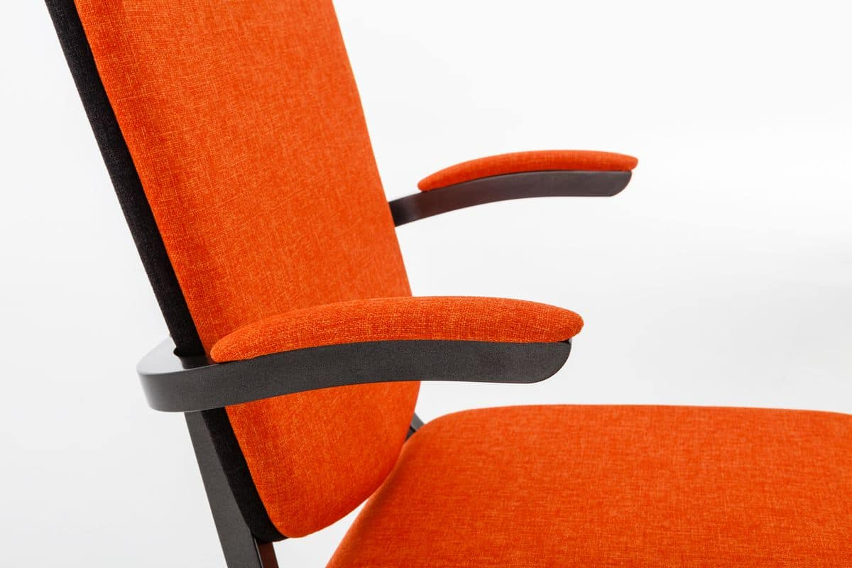 Inicio 09/1HA, Conference chair with armrests, stackable, fireproof padding