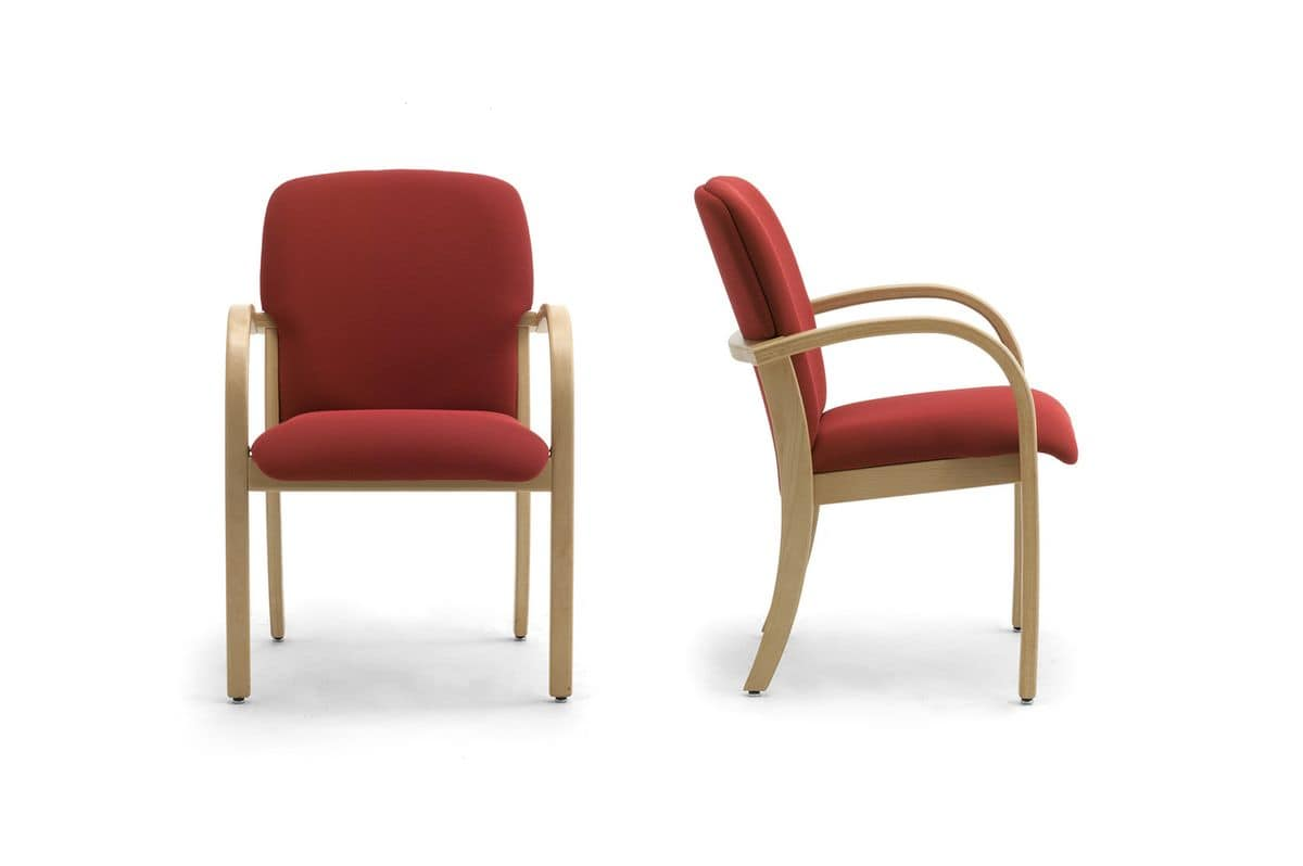 Kali 68501, Armchair in wood with upholstered seat and backrest