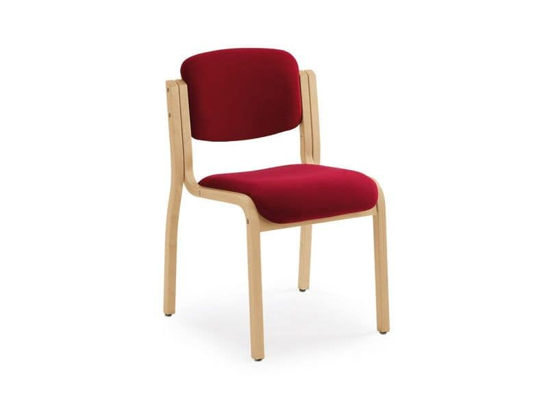 Kalos 3 169601, Padded chair in wood, for meeting and conference rooms