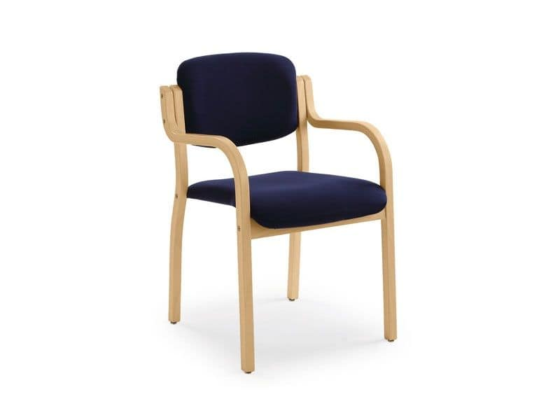 Kalos 3 169701, Padded armchair in wood, for congress halls